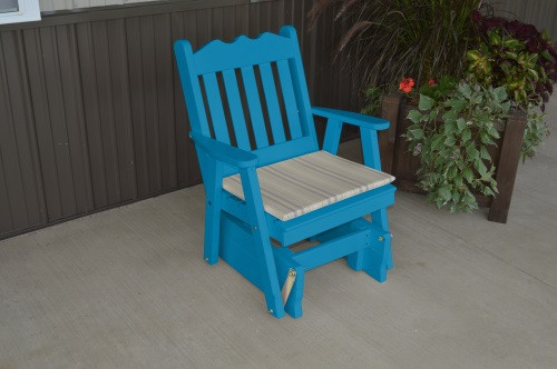 Royal English Yellow Pine Glider Chair - Caribbean Blue w/ Cushion
