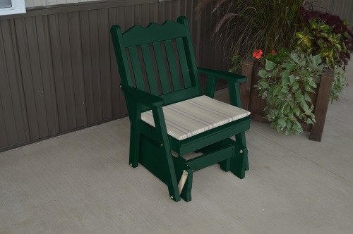 Royal English Yellow Pine Glider Chair - Dark Green w/ Cushion