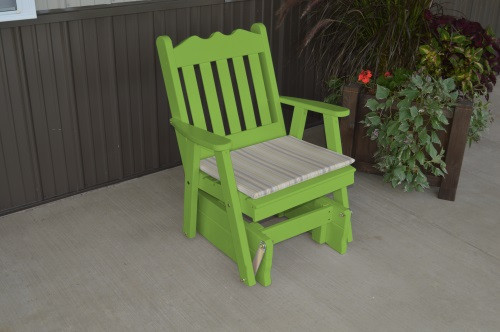 Royal English Yellow Pine Glider Chair - Lime Green w/ Cushion