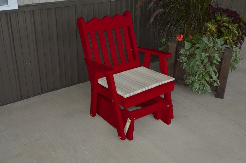 Royal English Yellow Pine Glider Chair - Tractor Red w/ Cushion