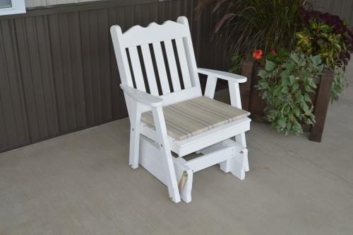 Royal English Yellow Pine Glider Chair - White w/ Cushion
