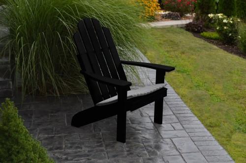 Kennebunkport Yellow Pine Adirondack Chair - Black w/ Cushion