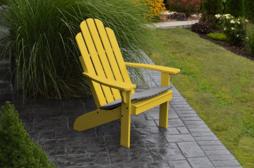 Kennebunkport Yellow Pine Adirondack Chair   Canary Yellow W/ Cushion