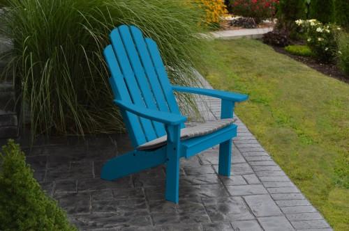Kennebunkport Yellow Pine Adirondack Chair - Caribbean Blue w/ Cushion