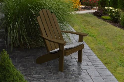 Kennebunkport Yellow Pine Adirondack Chair - Coffee w/ Cushion