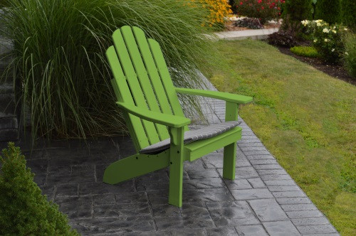 Kennebunkport Yellow Pine Adirondack Chair - Lime Green w/ Cushion