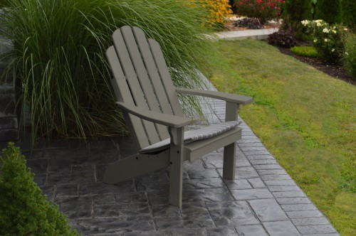 Kennebunkport Yellow Pine Adirondack Chair - Olive Gray w/ Cushion