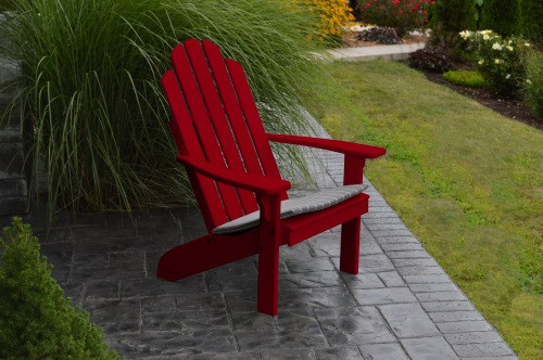 Kennebunkport Yellow Pine Adirondack Chair - Tractor Red w/ Cushion