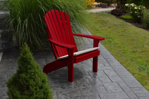 Fan Back Yellow Pine Adirondack Chair - Tractor Red w/ Cushion