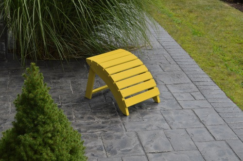 Folding Yellow Pine Ottoman - Canary Yellow