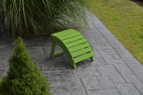 Folding Yellow Pine Ottoman - Lime Green