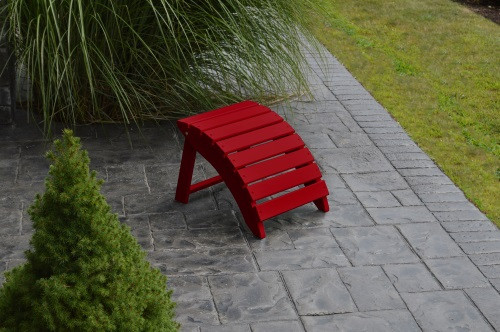 Folding Yellow Pine Ottoman - Tractor Red