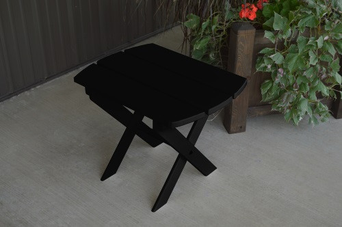 Folding Oval Yellow Pine End Table - Black