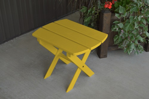 Folding Oval Yellow Pine End Table - Canary Yellow