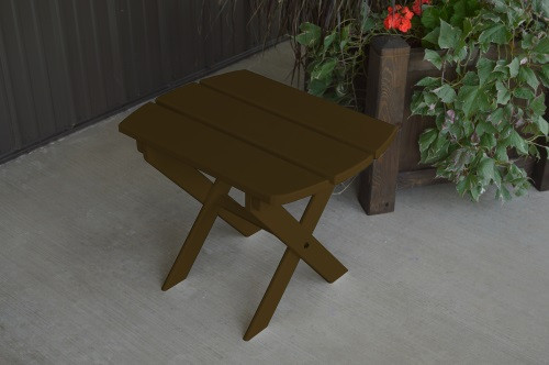 Folding Oval Yellow Pine End Table - Coffee