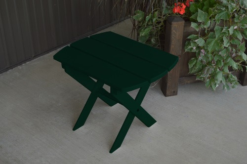 Folding Oval Yellow Pine End Table - Dark Green