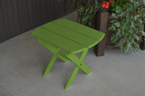 Folding Oval Yellow Pine End Table - Lime Green