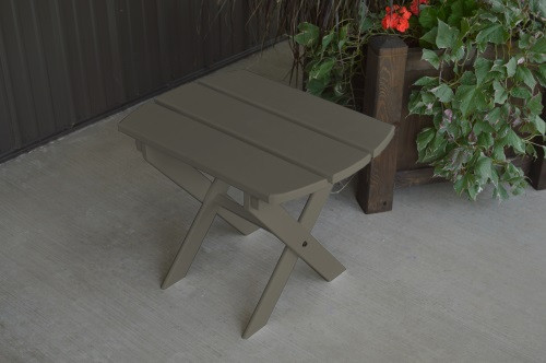 Folding Oval Yellow Pine End Table - Olive Gray