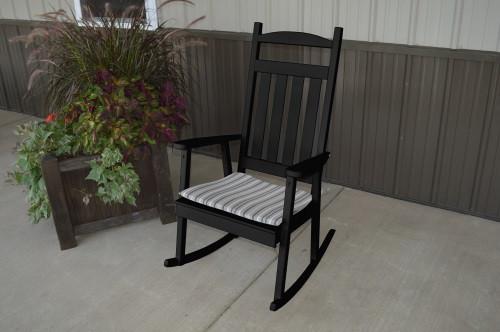 Classic Yellow Pine Porch Rocker - Black w/ Cushion