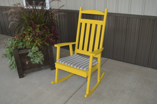Classic Yellow Pine Porch Rocker - Canary Yellow w/ Cushion