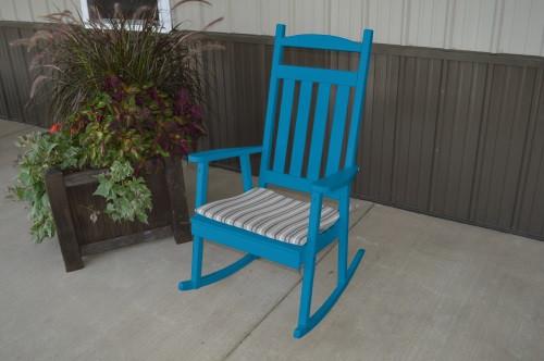 Classic Yellow Pine Porch Rocker - Caribbean Blue w/ Cushion