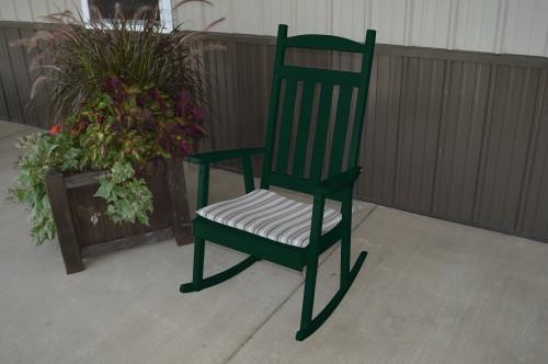 Classic Yellow Pine Porch Rocker - Dark Green w/ Cushion