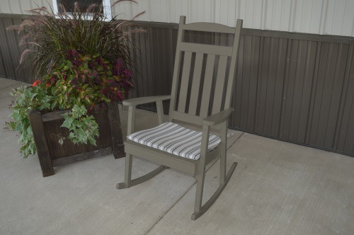 Classic Yellow Pine Porch Rocker - Olive Gray w/ Cushion