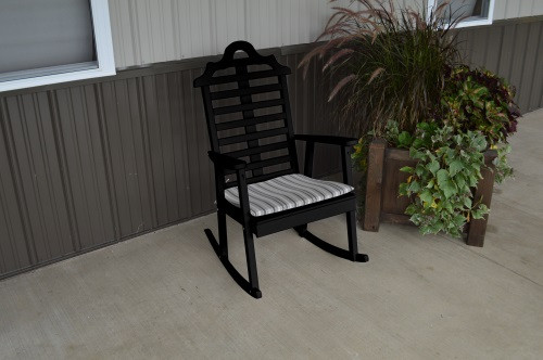 Marlboro Yellow Pine Porch Rocker - Black w/ Cushion