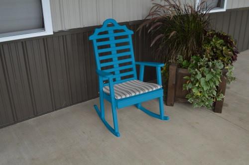 Marlboro Yellow Pine Porch Rocker - Caribbean Blue w/ Cushion
