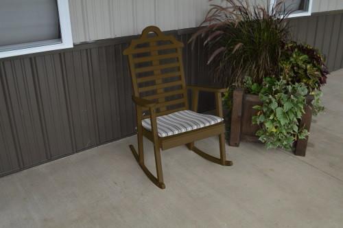 Marlboro Yellow Pine Porch Rocker - Coffee w/ Cushion
