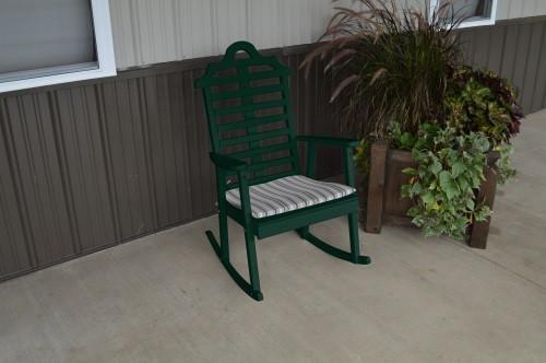 Marlboro Yellow Pine Porch Rocker - Dark Green w/ Cushion