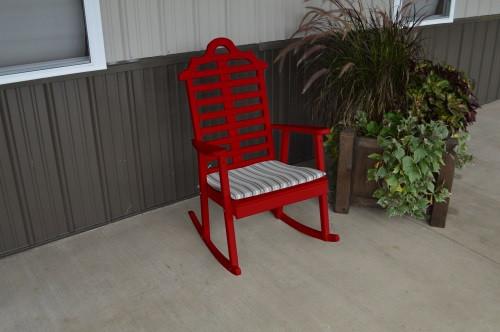 Marlboro Yellow Pine Porch Rocker - Tractor Red w/ Cushion