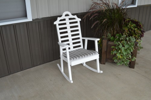 Marlboro Yellow Pine Porch Rocker - White w/ Cushion