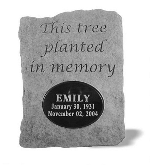 This Tree Planted in Memory... w/ Marble Oval Memorial Garden Stone