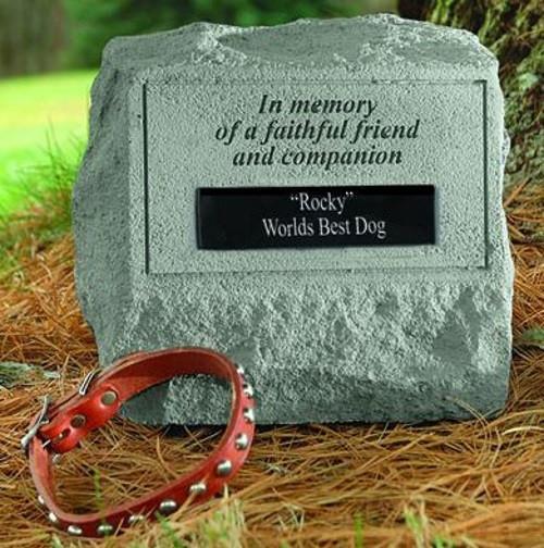 In Memory of a Faithful Friend...Memorial Headstone w/ urn