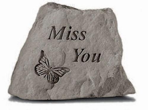 Miss you w/ butterfly Decorative Garden Stone