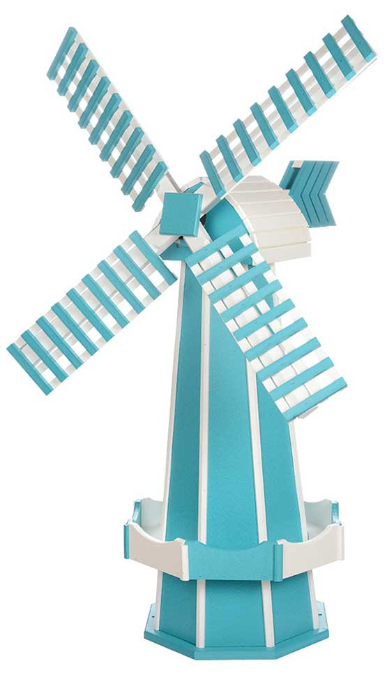 Large Poly Garden Windmill - Aruba Blue & White