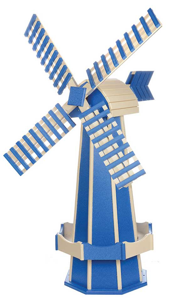Large Poly Garden Windmill - Blue & Ivory