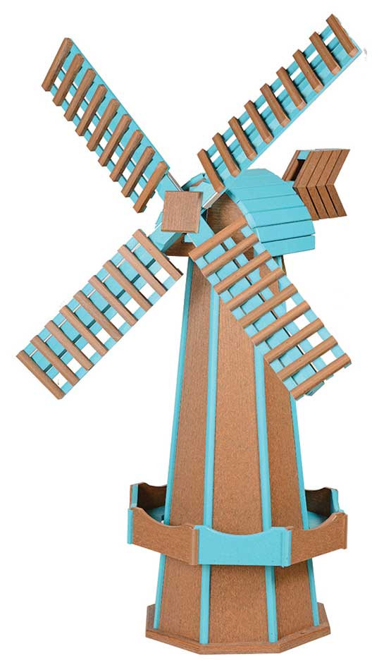 Large Poly Garden Windmill - Mahogany & Aruba Blue