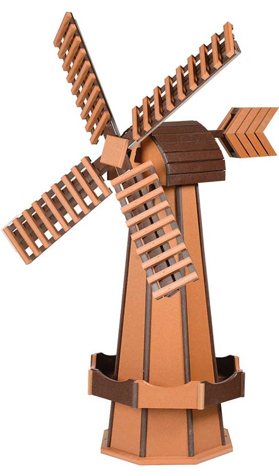 Large Poly Garden Windmill - Cedar & Brown