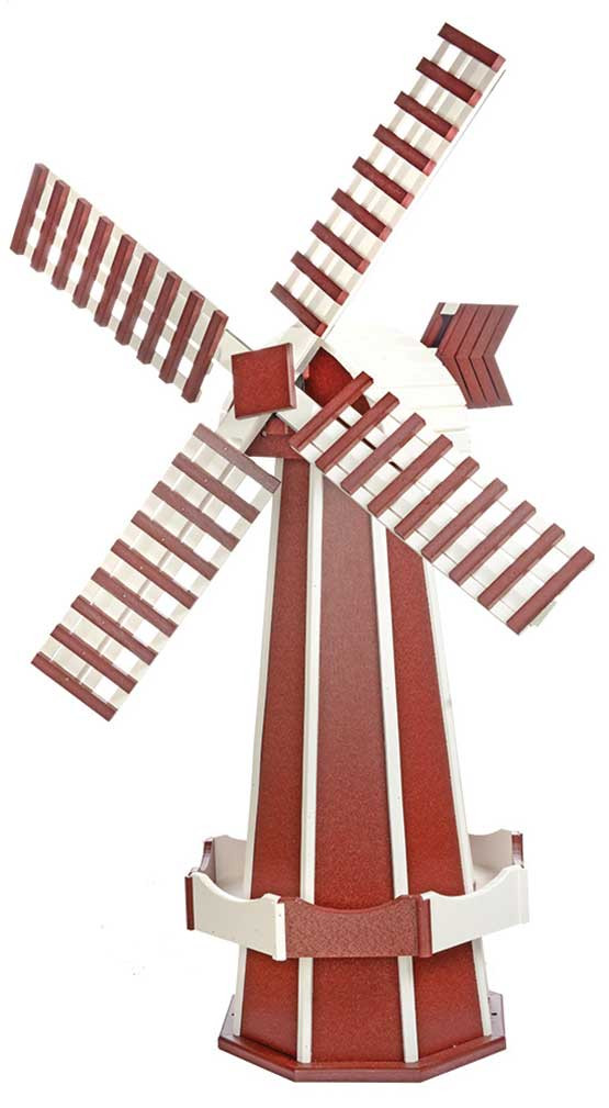 Large Poly Garden Windmill - Cherrywood & White