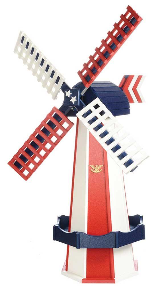 Medium Poly Garden Windmill - Patriotic