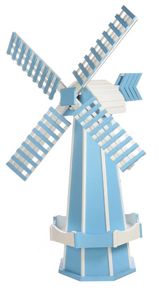 Large Poly Garden Windmill - Powder Blue & White