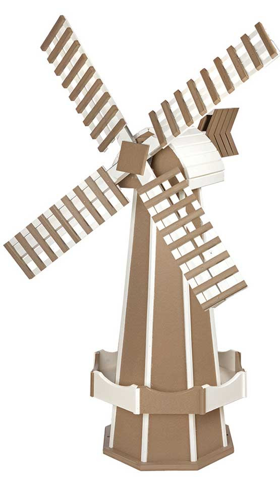 Large Poly Garden Windmill - Weatherwood & White