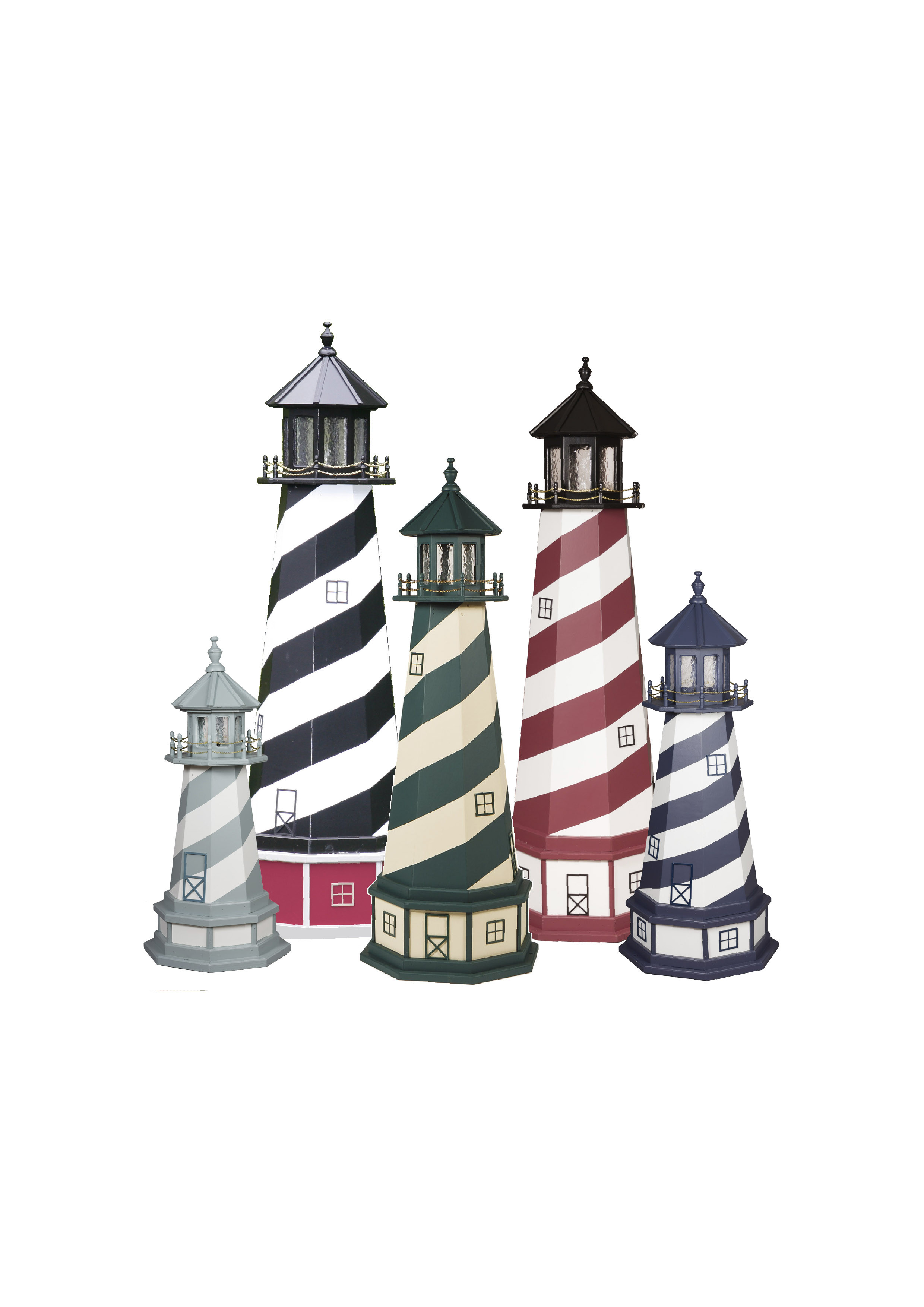 Picture showing different sizes of Cape Hatteras Wooden Lighthouses.