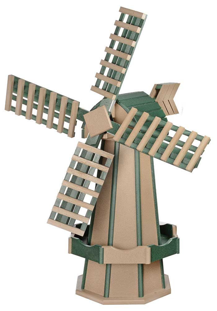Medium Poly Garden Windmill - Weatherwood & Turf Green