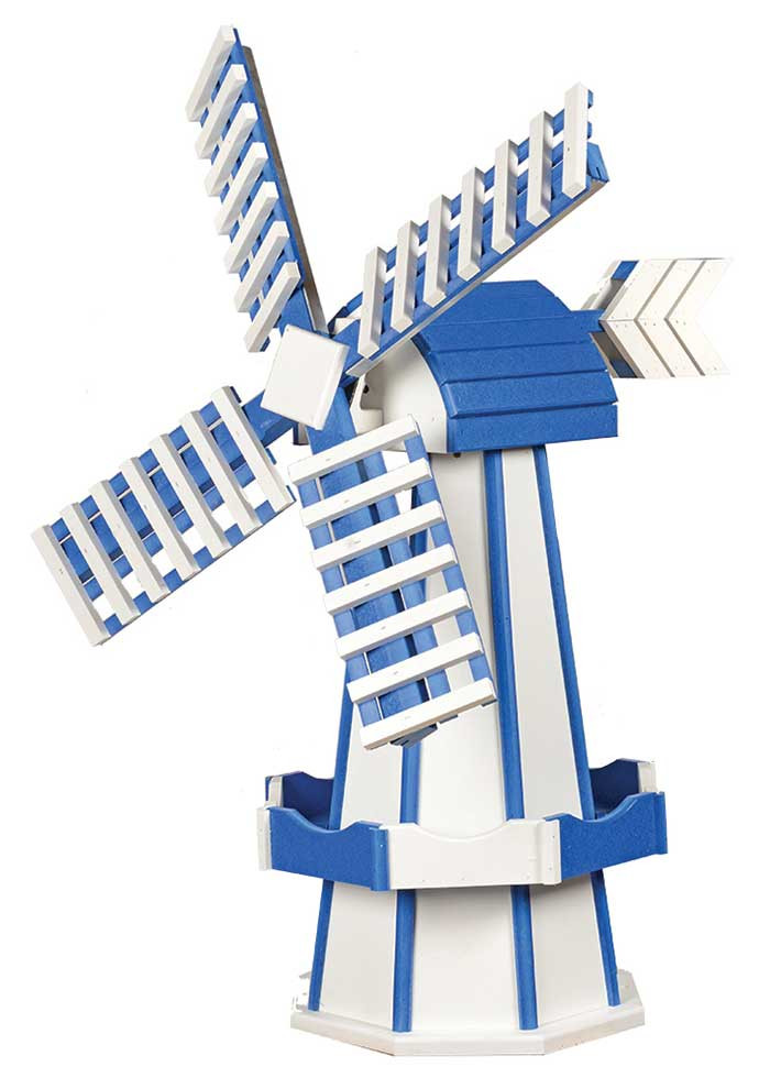 Medium Poly Garden Windmill - White & Patriot Blue