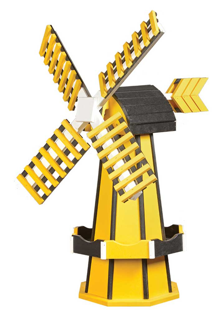 Medium Poly Garden Windmill - Yellow & Black