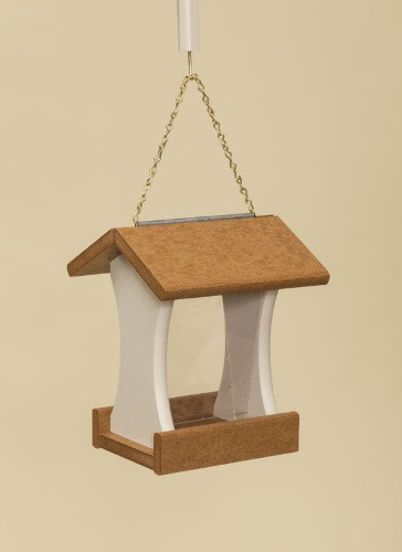 Poly Wood Mini Bird Feeder - Cedar Roof & Floor/Ivory Side Walls