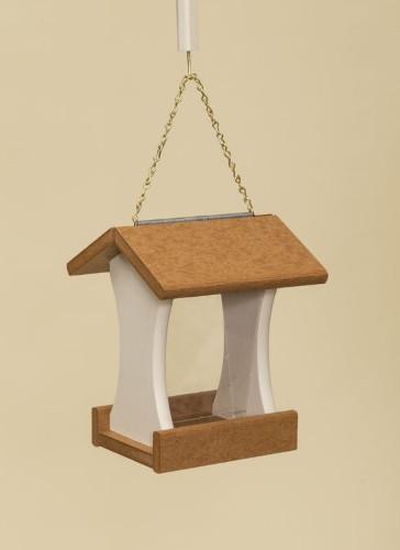 Poly Wood Mini Bird Feeder - Cedar Roof & Floor/Ivory Side Walls